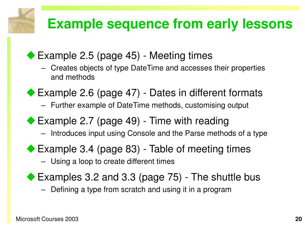 Example sequence from early lessons