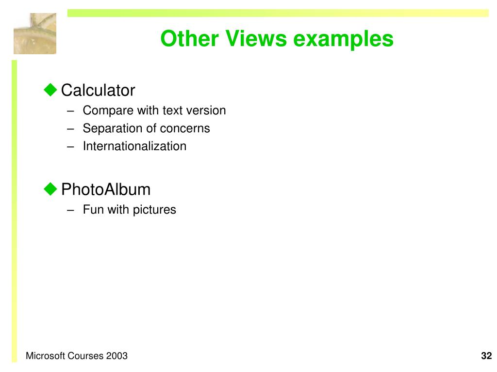 Other Views examples