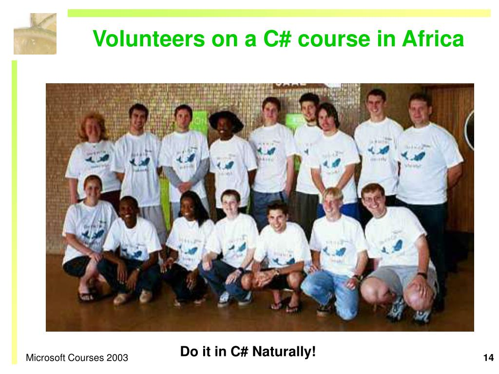 Volunteers on a C# course in Africa