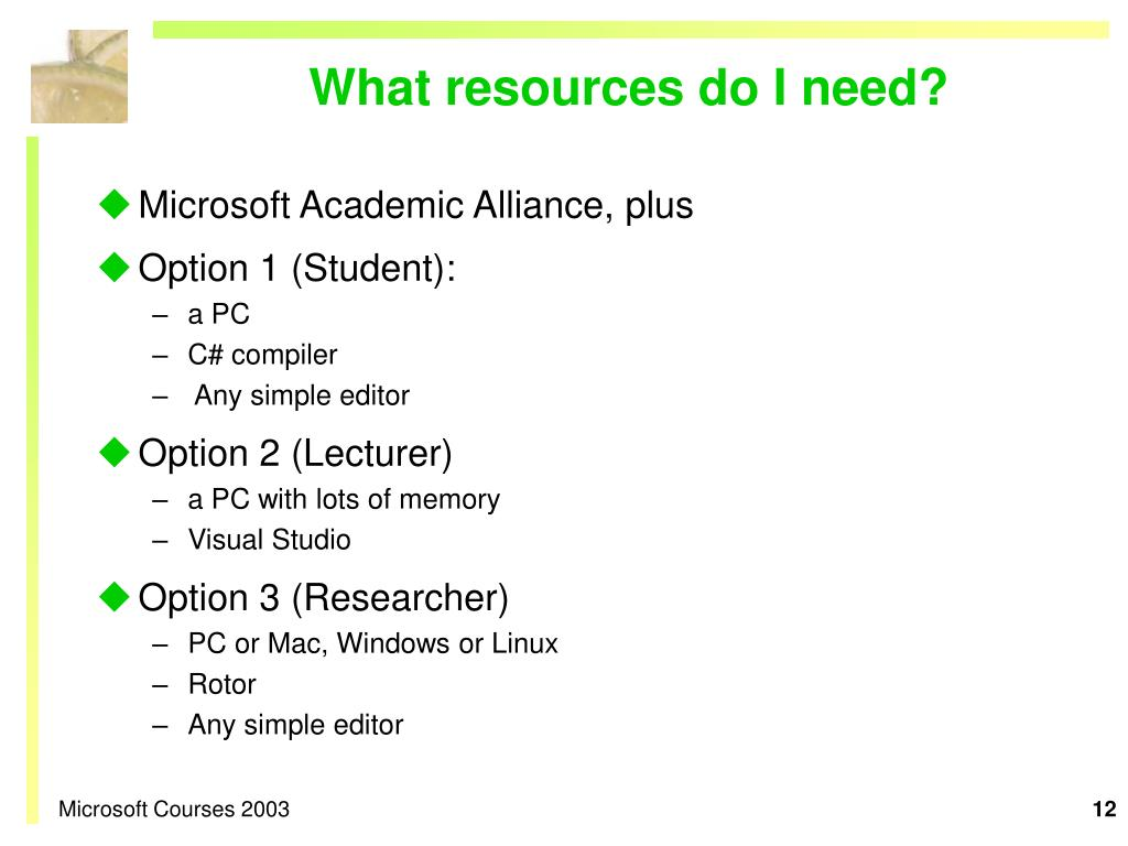 What resources do I need?