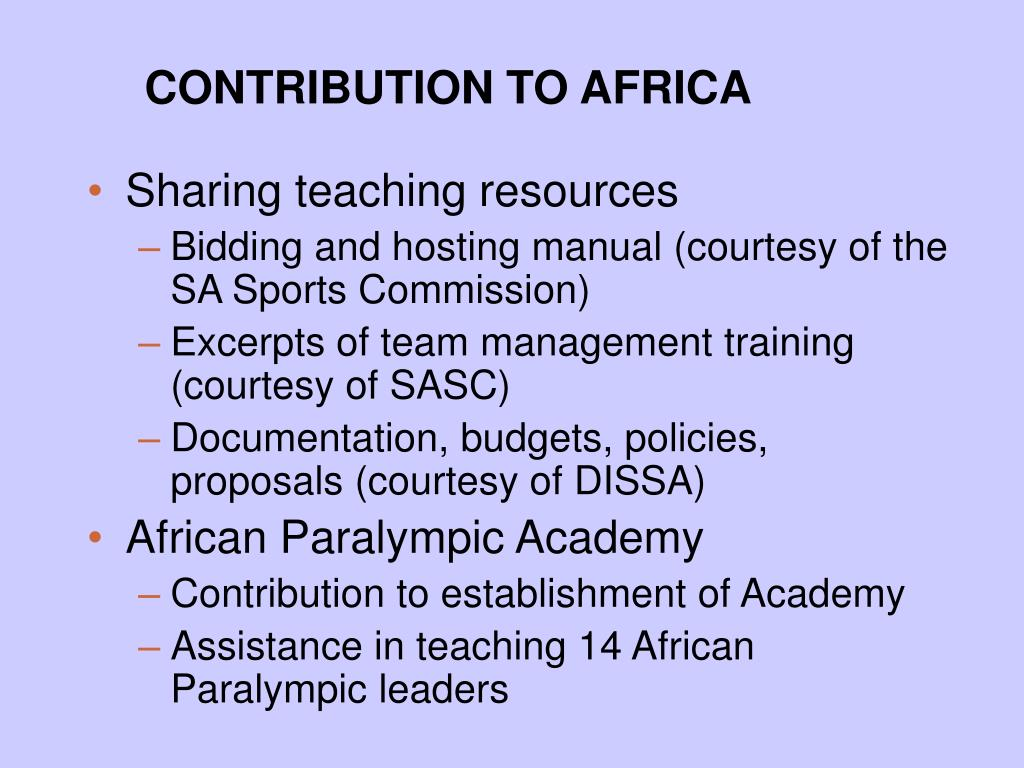 CONTRIBUTION TO AFRICA