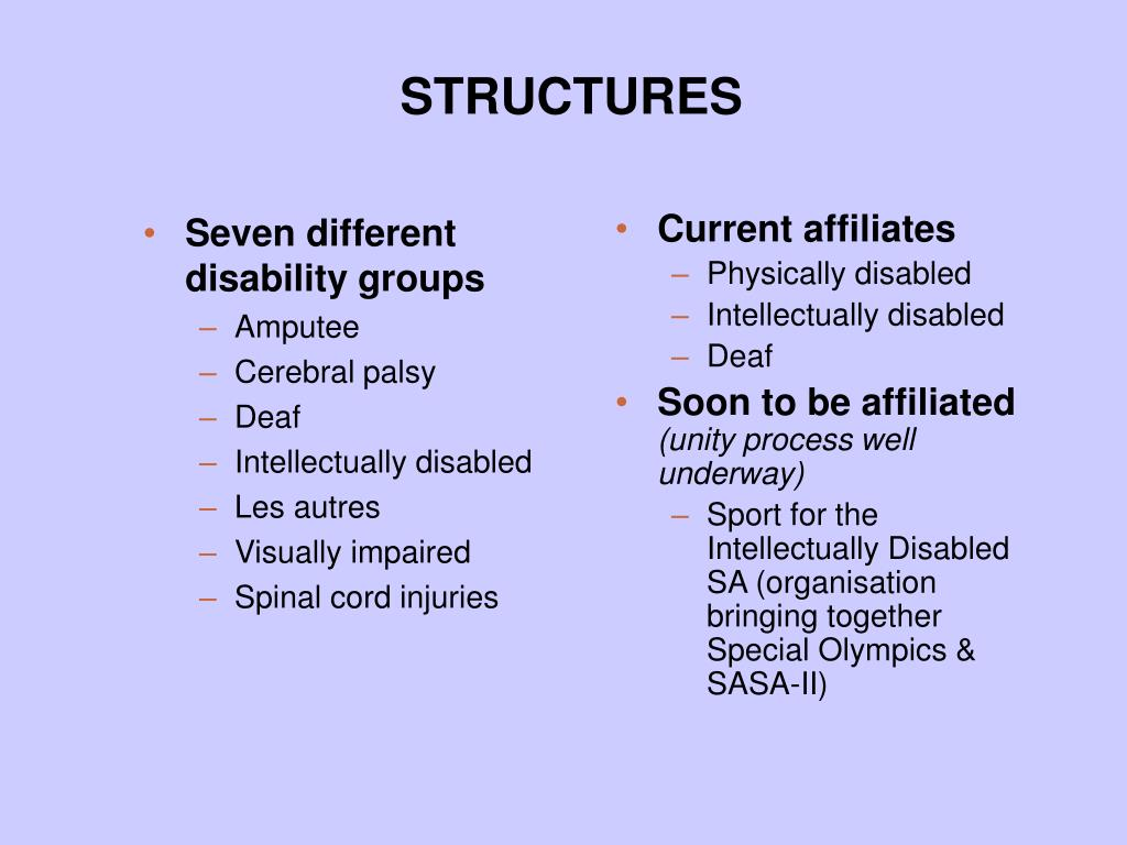 Seven different disability groups