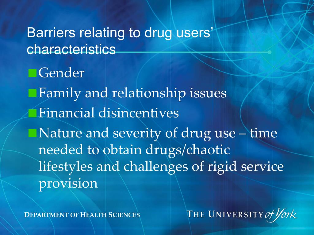 Barriers relating to drug users' characteristics