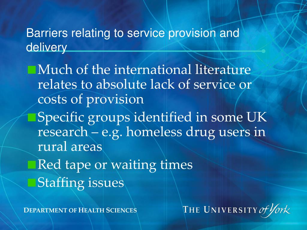 Barriers relating to service provision and delivery