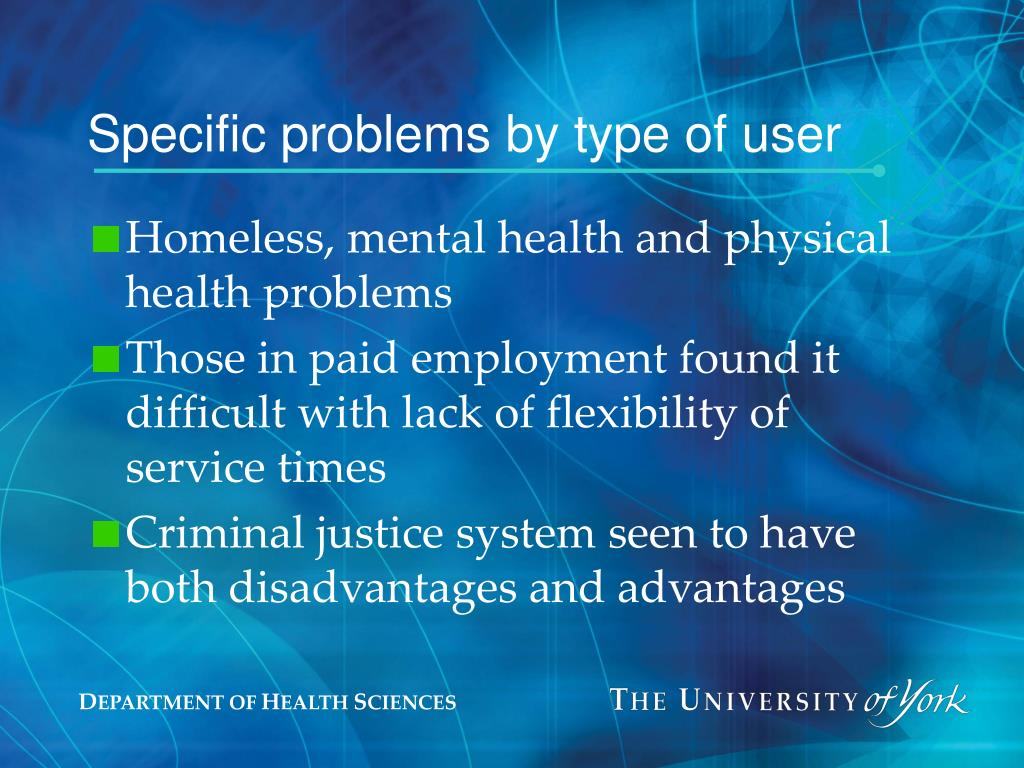 Specific problems by type of user