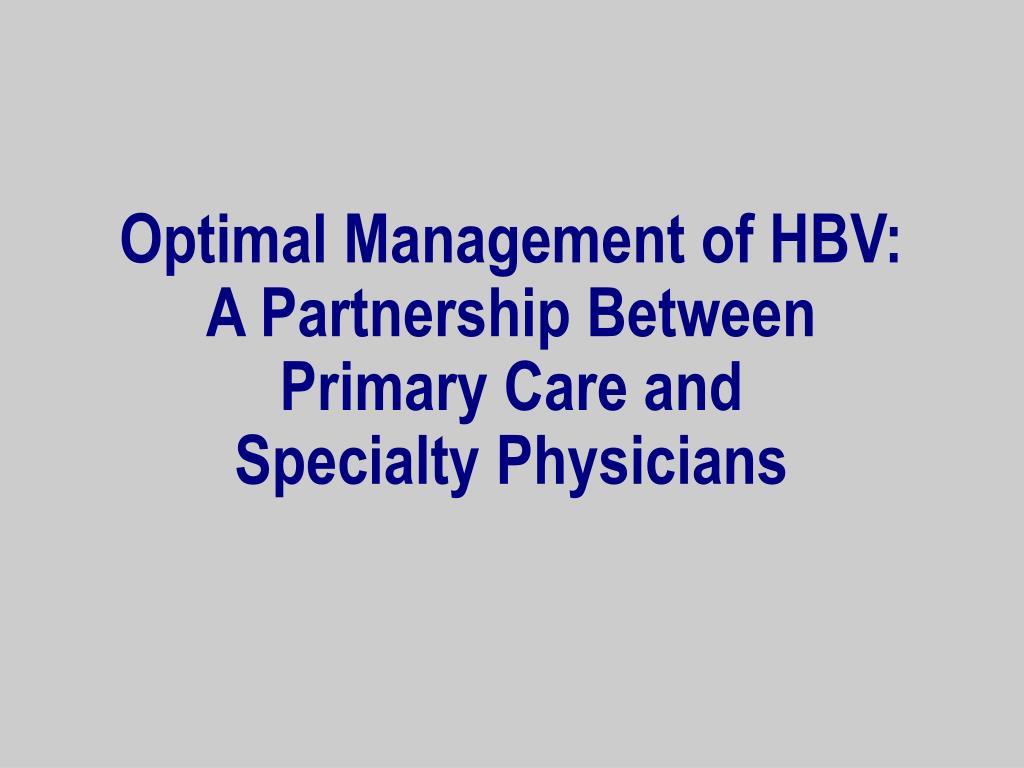 Optimal Management of HBV: