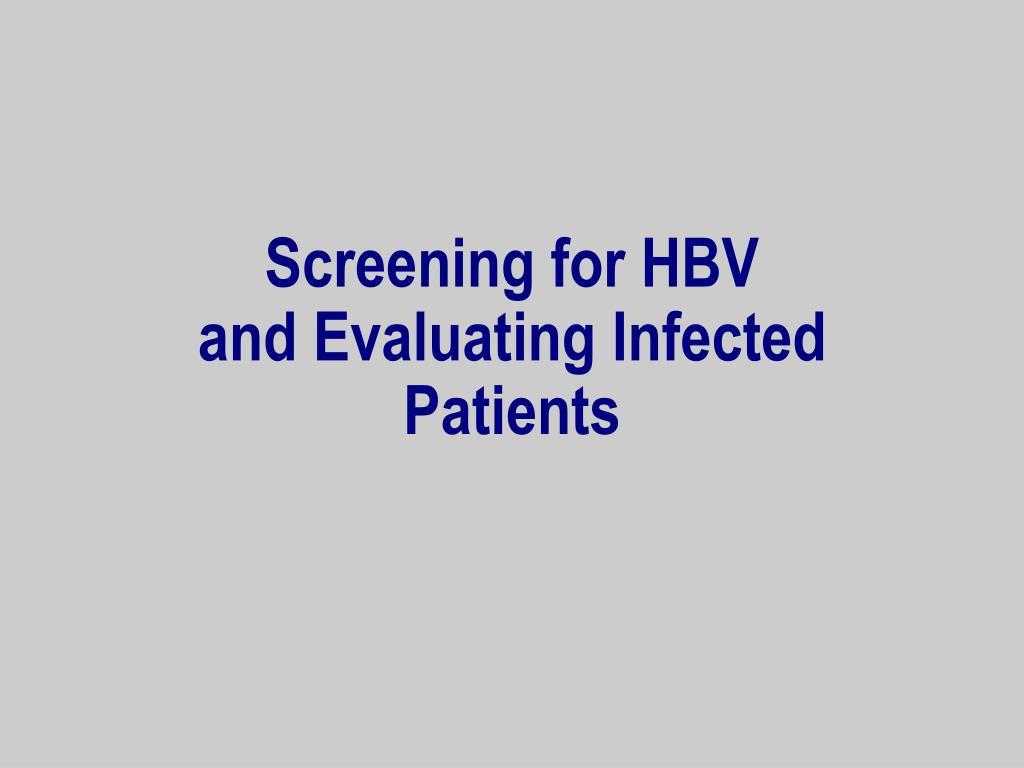 Screening for HBV