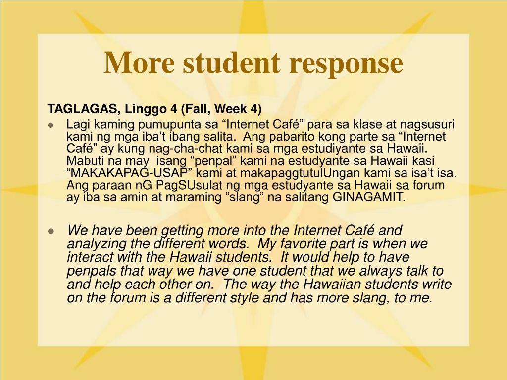 More student response