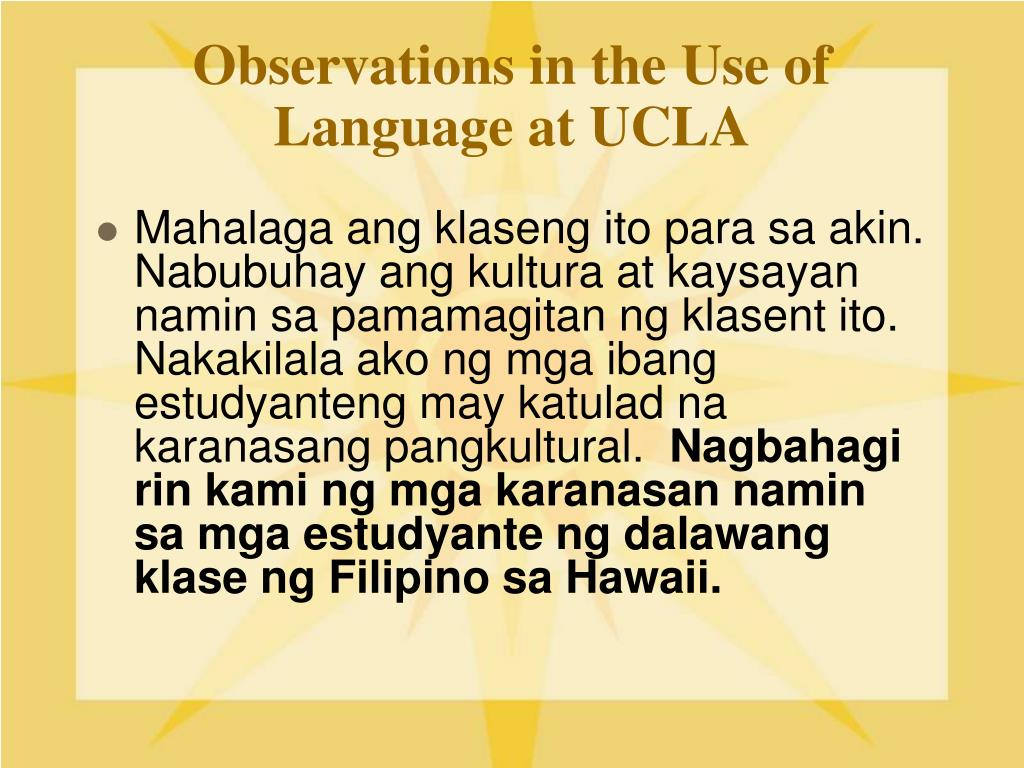 Observations in the Use of Language at UCLA