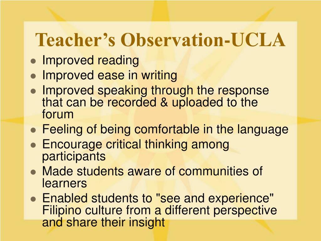 Teacher's Observation-UCLA