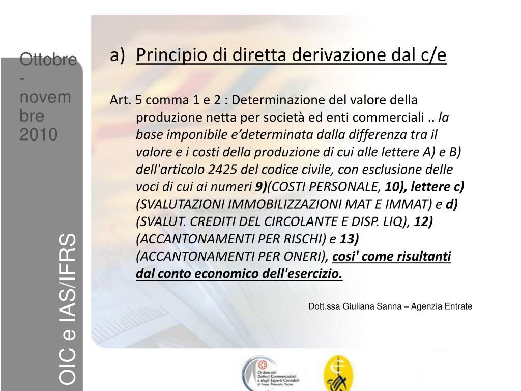 Principio di diretta derivazione dal c/e