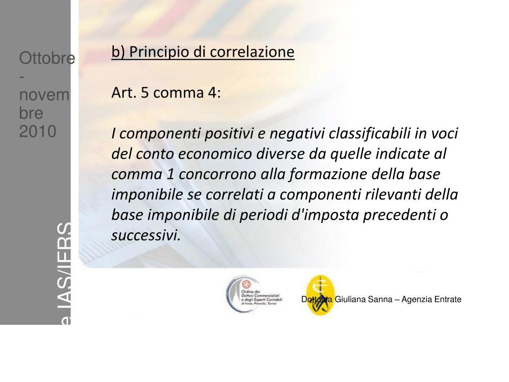 b) Principio di correlazione