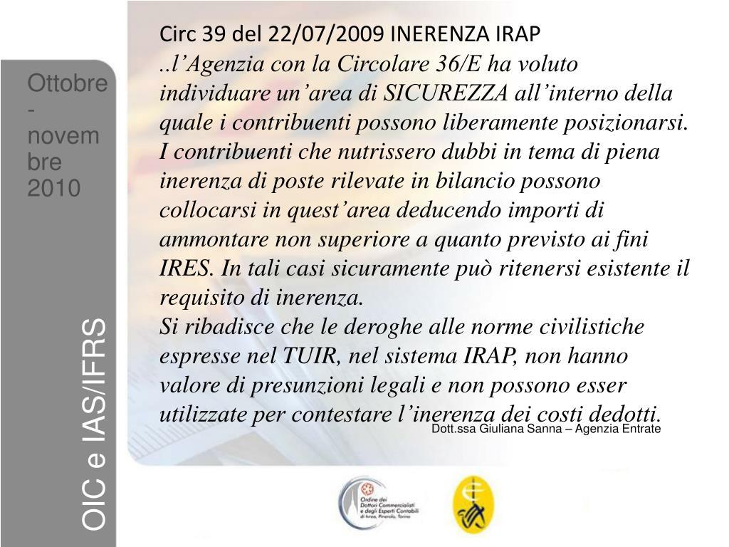 Circ 39 del 22/07/2009 INERENZA IRAP