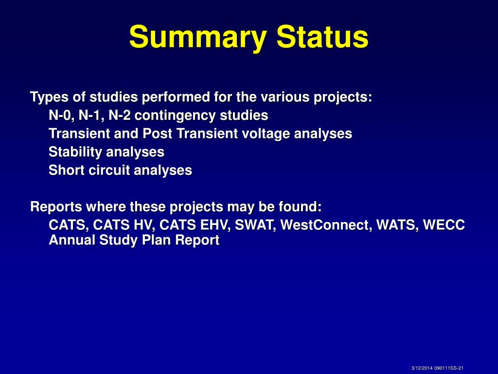 Types of studies performed for the various projects: