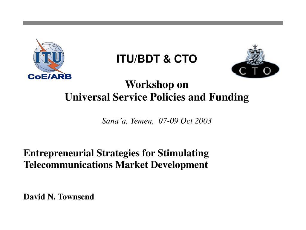 entrepreneurial strategies for stimulating telecommunications market development david n townsend l.