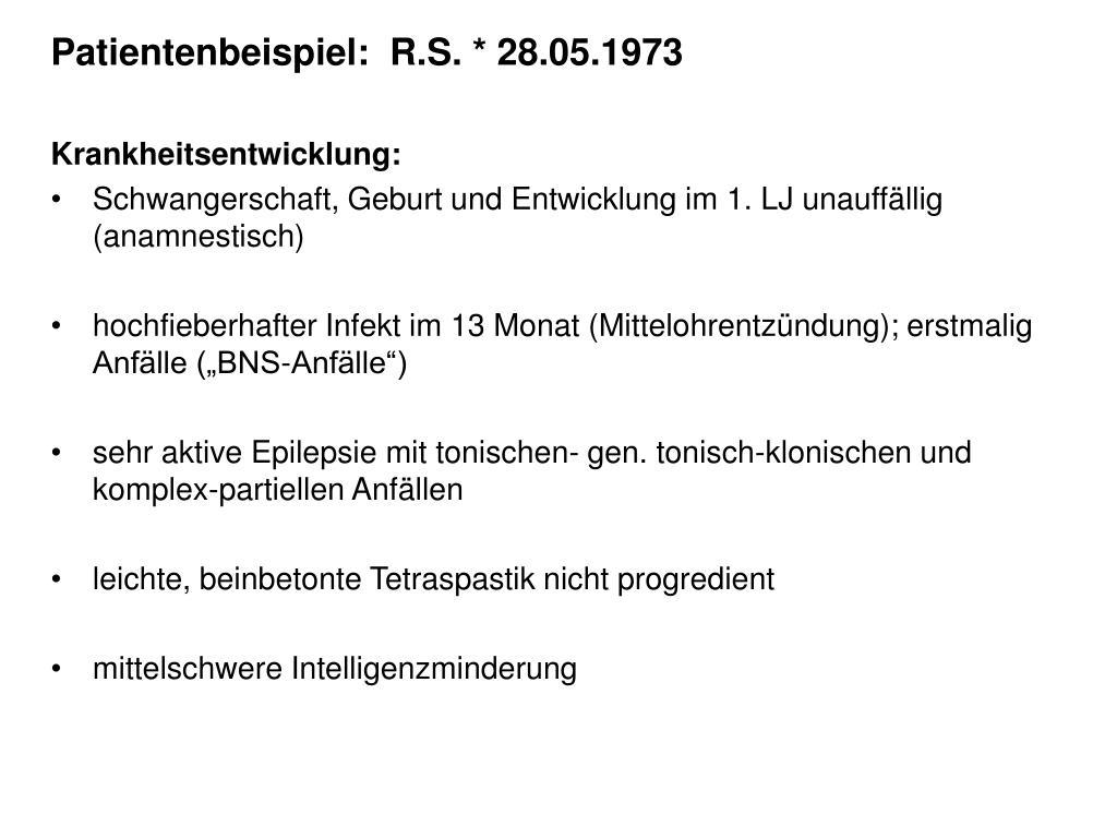 Patientenbeispiel:  R.S. * 28.05.1973
