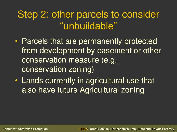 """Step 2: other parcels to consider """"unbuildable"""""""