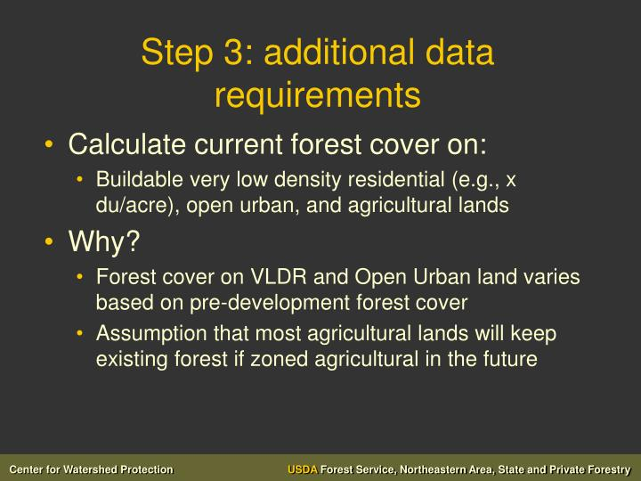 Step 3: additional data requirements