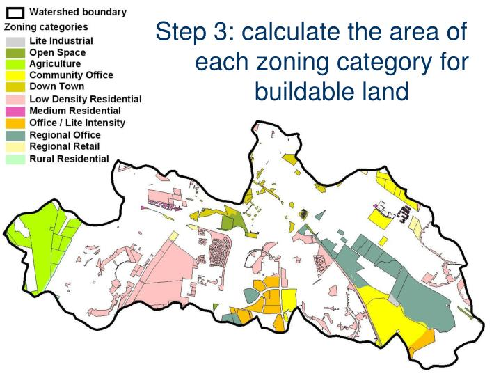 Step 3: calculate the area of each zoning category for buildable land