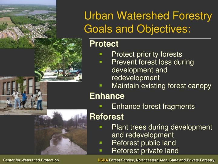 Urban Watershed Forestry Goals and Objectives: