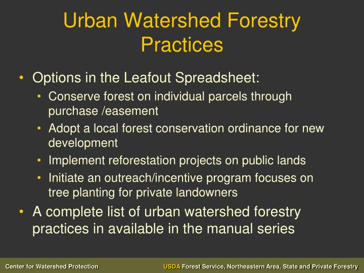 Urban Watershed Forestry Practices