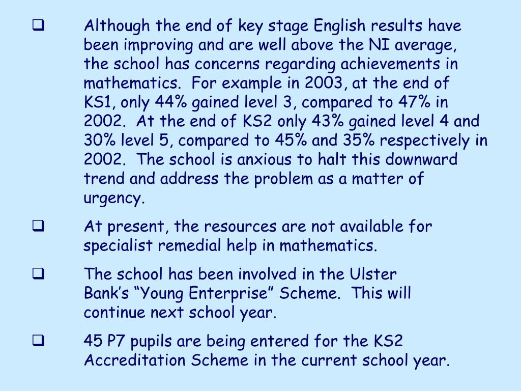 Although the end of key stage English results have been improving and are well above the NI average, the school has concerns regarding achievements in mathematics.  For example in 2003, at the end of KS1, only 44% gained level 3, compared to 47% in 2002.  At the end of KS2 only 43% gained level 4 and 30% level 5, compared to 45% and 35% respectively in 2002.  The school is anxious to halt this downward trend and address the problem as a matter of urgency.