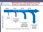 meaningful use is being defined and will follow an ascension path over time