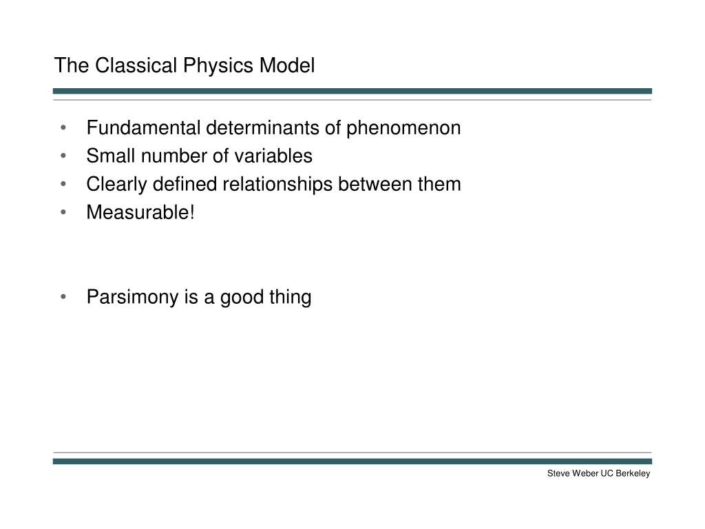 The Classical Physics Model
