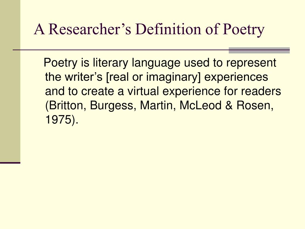 A Researcher's Definition of Poetry