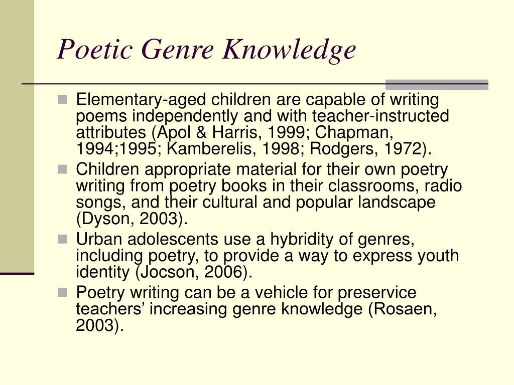 Poetic Genre Knowledge