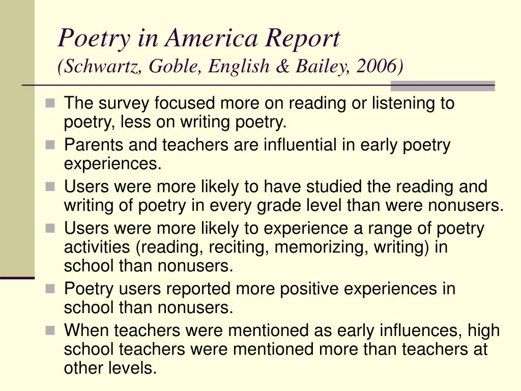 Poetry in America Report