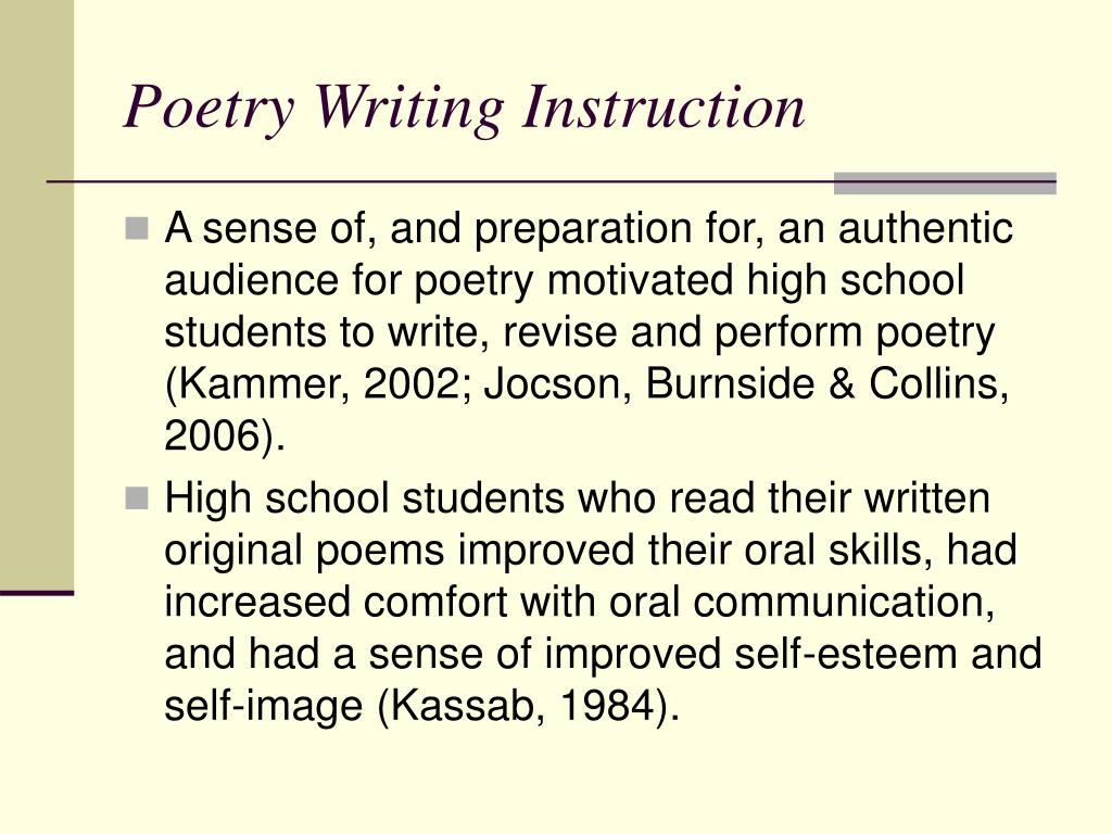 Poetry Writing Instruction