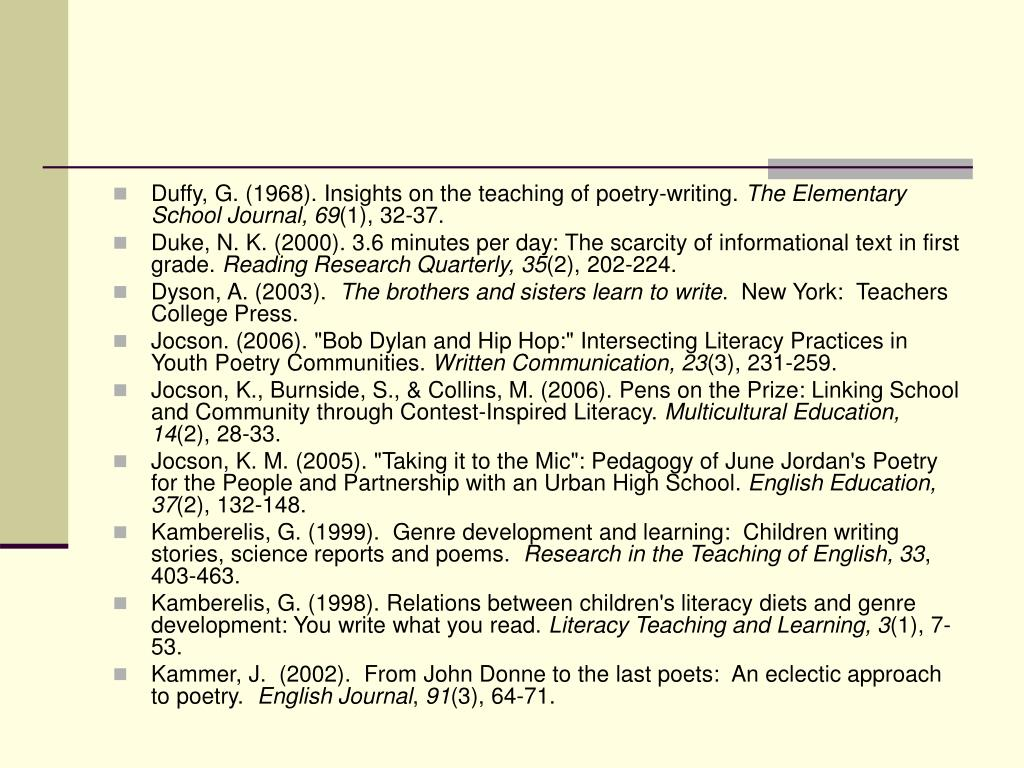 Duffy, G. (1968). Insights on the teaching of poetry-writing.
