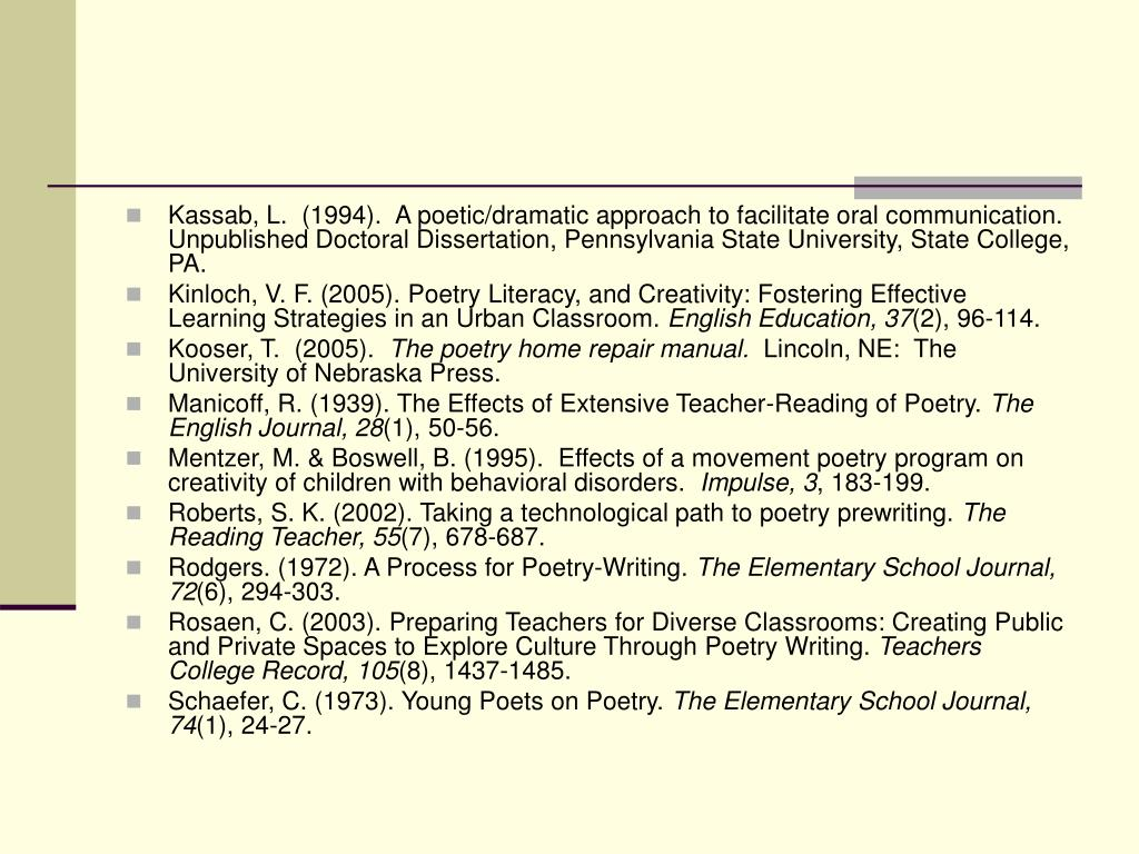 Kassab, L.  (1994).  A poetic/dramatic approach to facilitate oral communication.  Unpublished Doctoral Dissertation, Pennsylvania State University, State College, PA.
