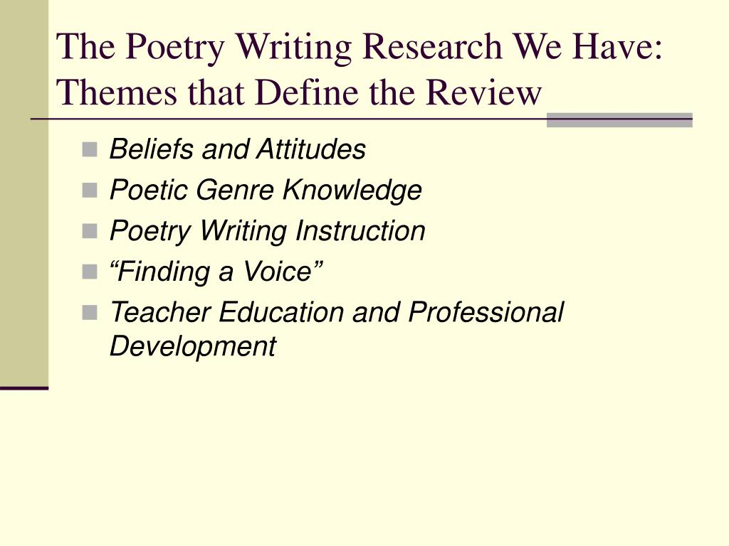 The Poetry Writing Research We Have: