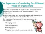 the importance of marketing for different types of organisations