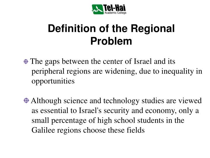 Definition of the regional problem