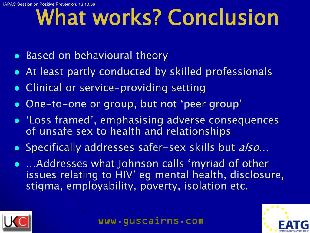 What works? Conclusion