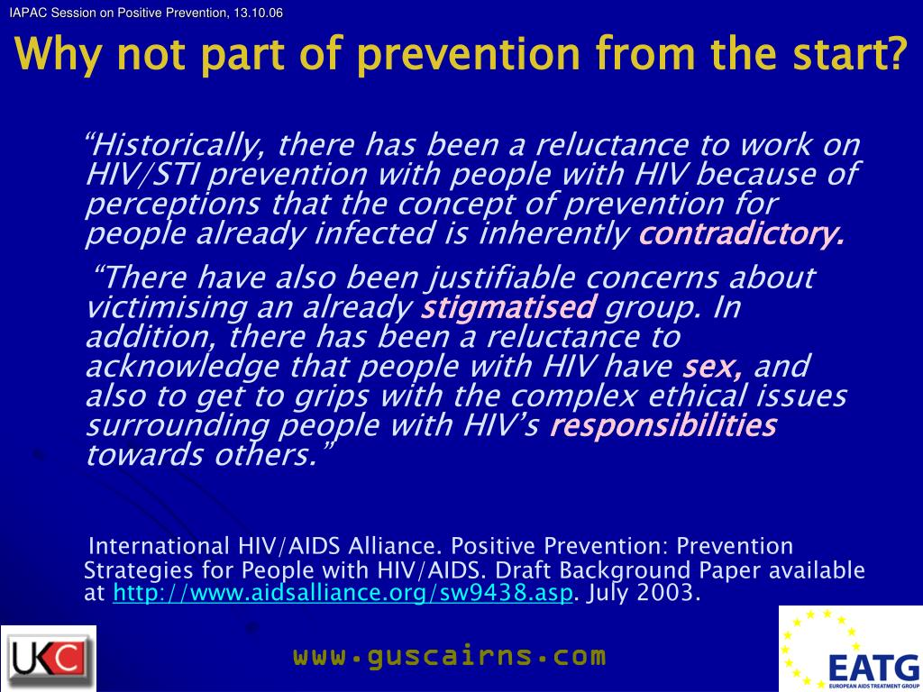 Why not part of prevention from the start?