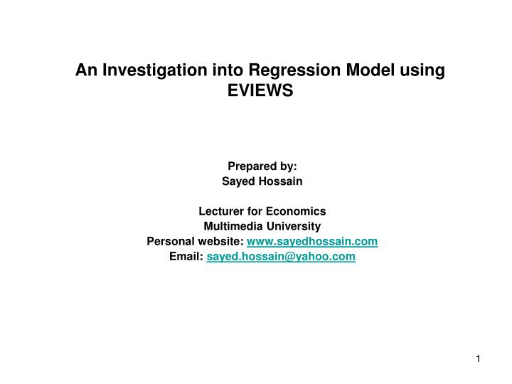 an investigation into regression model using eviews n.