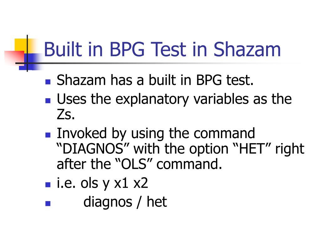Built in BPG Test in Shazam