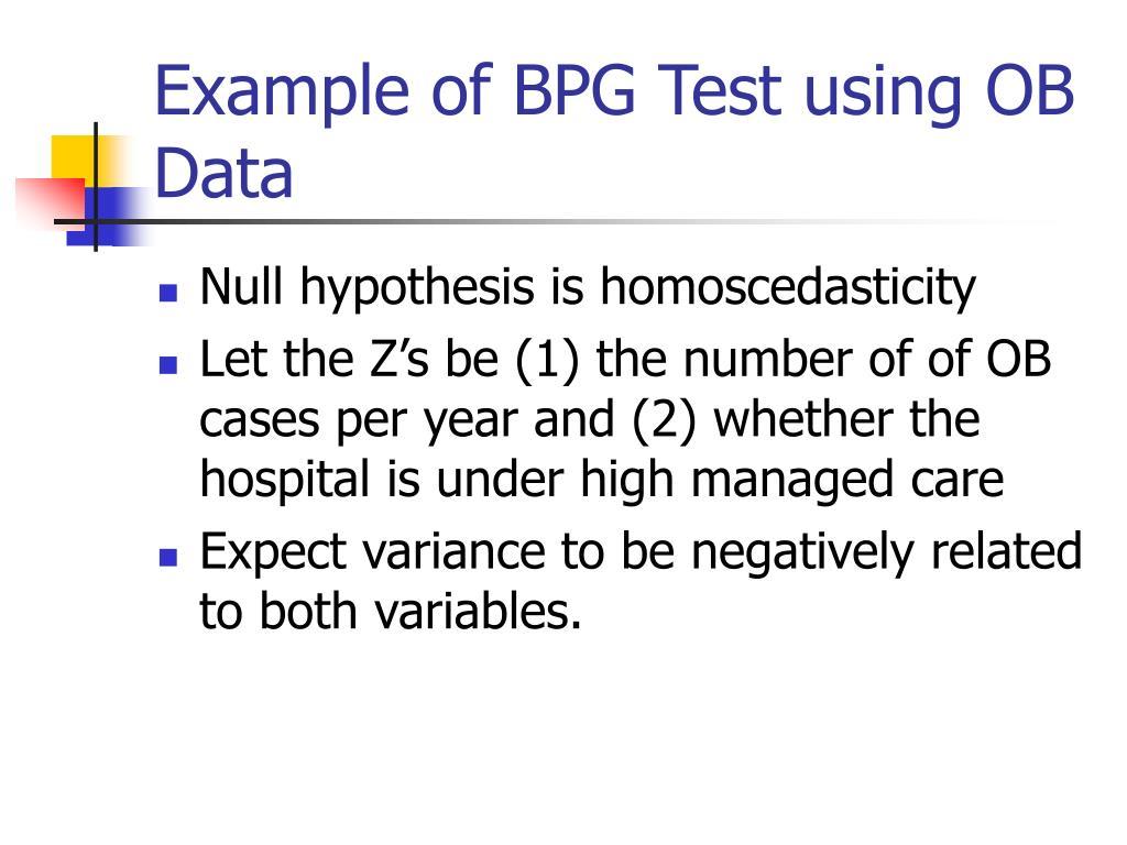 Example of BPG Test using OB Data