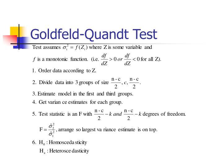 Goldfeld quandt test
