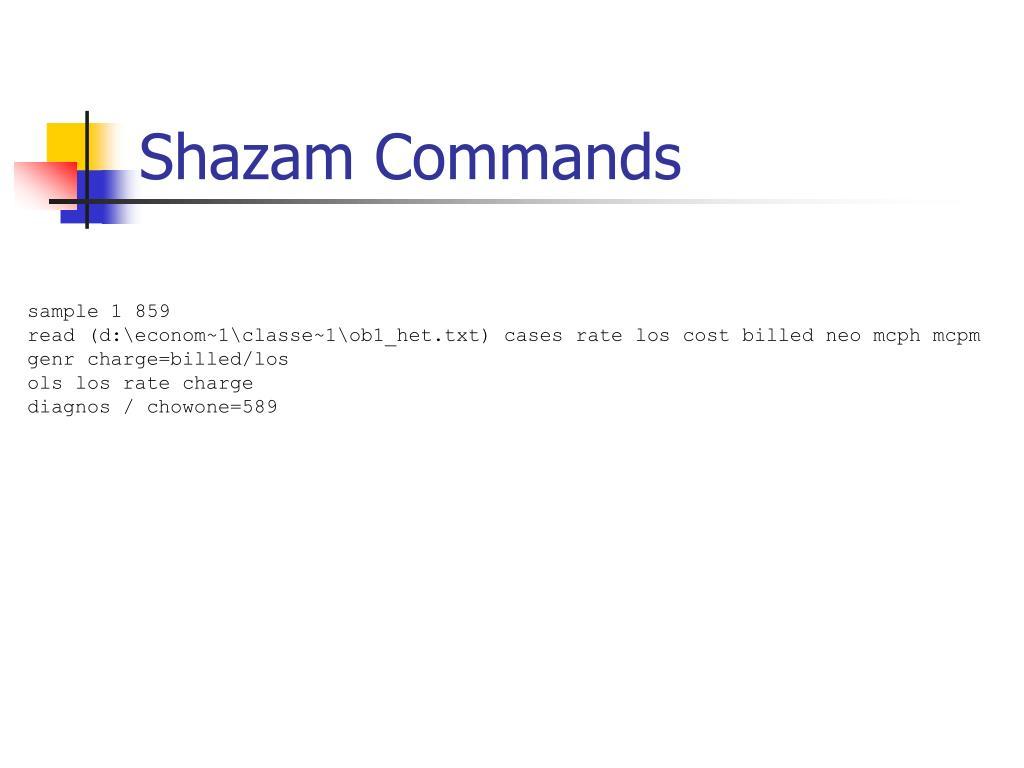 Shazam Commands