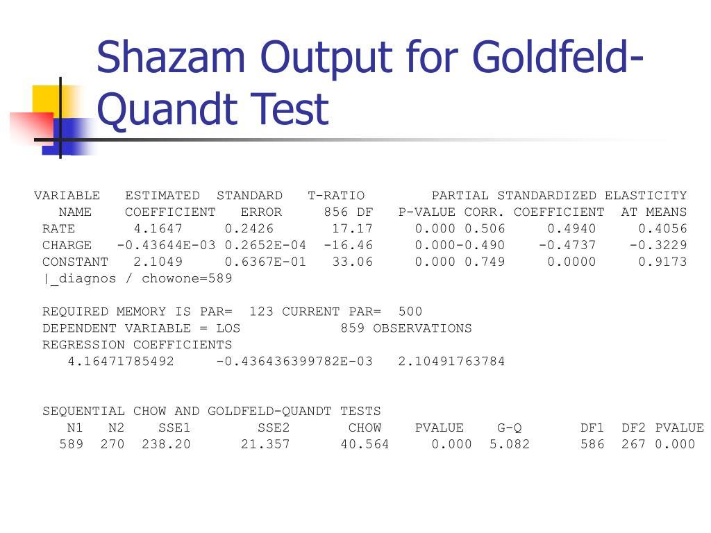 Shazam Output for Goldfeld-Quandt Test