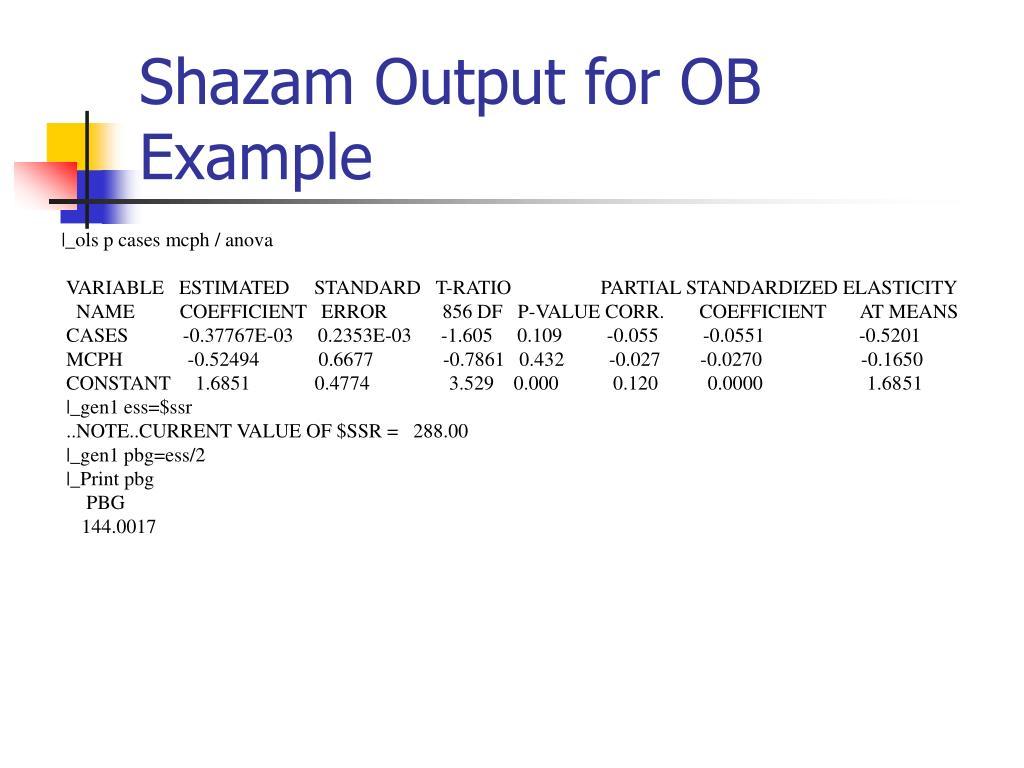 Shazam Output for OB Example