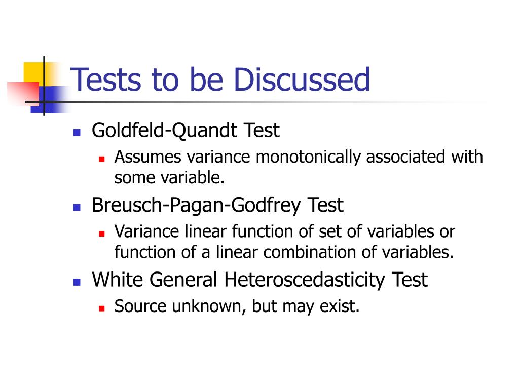 Tests to be Discussed