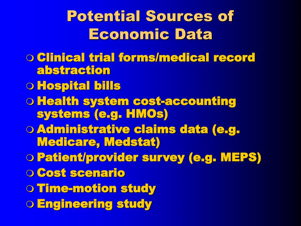 Potential Sources of Economic Data