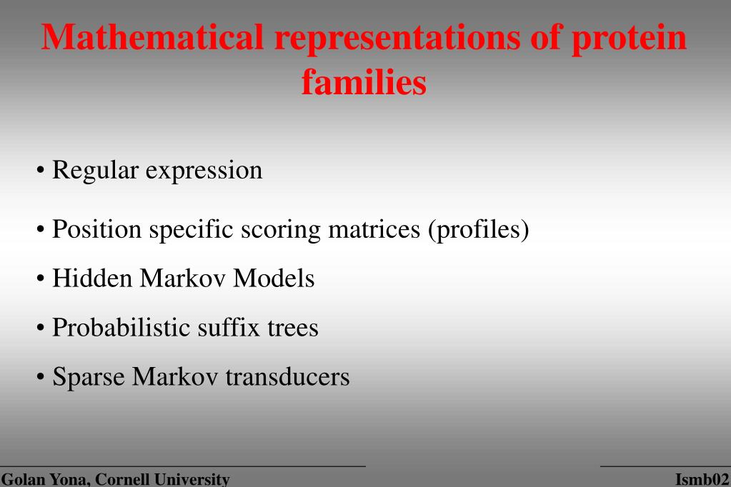 Mathematical representations of protein families