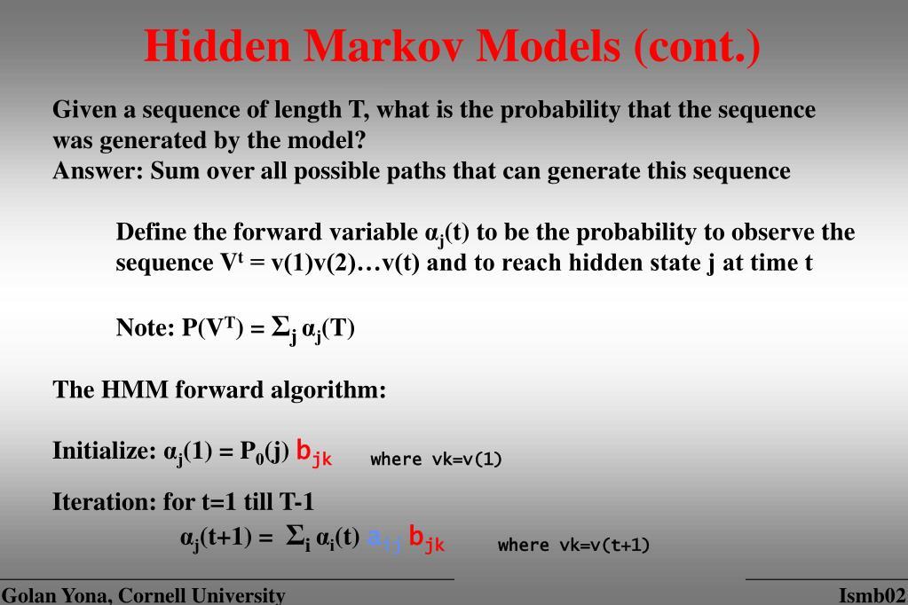 Hidden Markov Models (cont.)